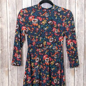 Lush Blue Floral Open Back Skater Dress Small